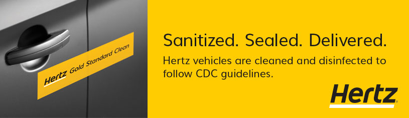 HERTZ Sanitized Sealed Delivered banner